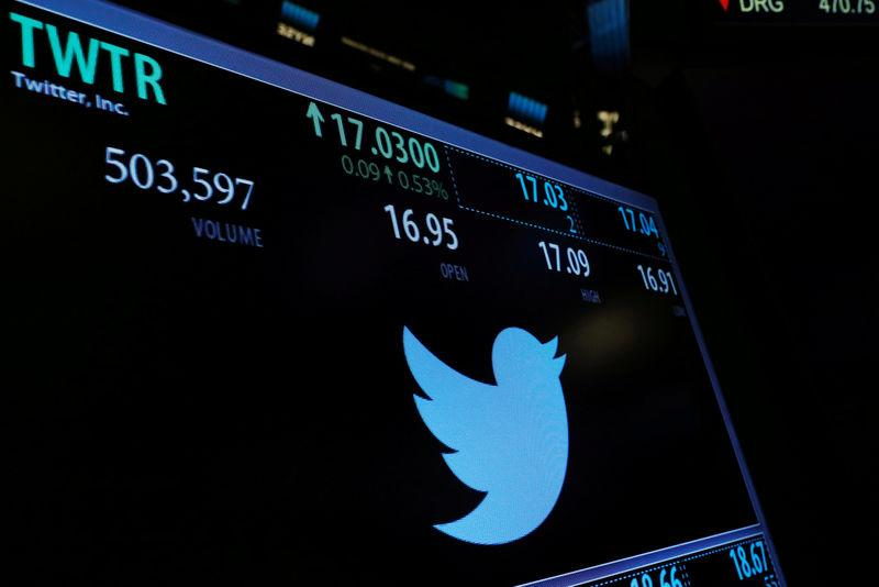 FILE PHOTO: A screen displays the stock price of Twitter above the floor of the New York Stock Exchange (NYSE) shortly after the opening bell in New York