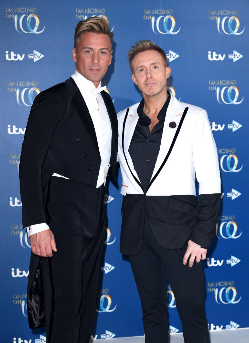 BOVINGDON, ENGLAND - DECEMBER 09: Matt Evers and Ian Watkins attend the Dancing On Ice 2019 photocall at the Dancing On Ice Studio, ITV Studios, Old Bovingdon Airfield on December 09, 2019 in Bovingdon, England. (Photo by Karwai Tang/WireImage)