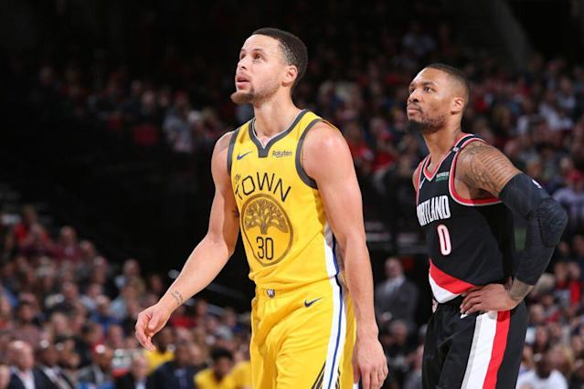Stephen Curry has historically been a step ahead of Damian Lillard in the NBA's point guard hierarchy. (Getty Images)