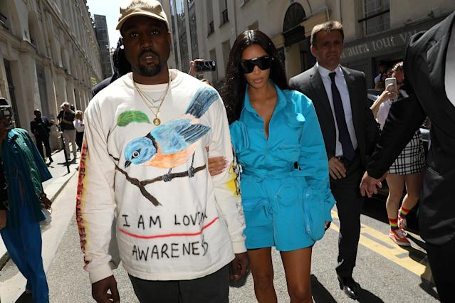 Kanye West and Kim Kardashian in Paris for Fashion Week on June 21. (Photo: Getty Images)