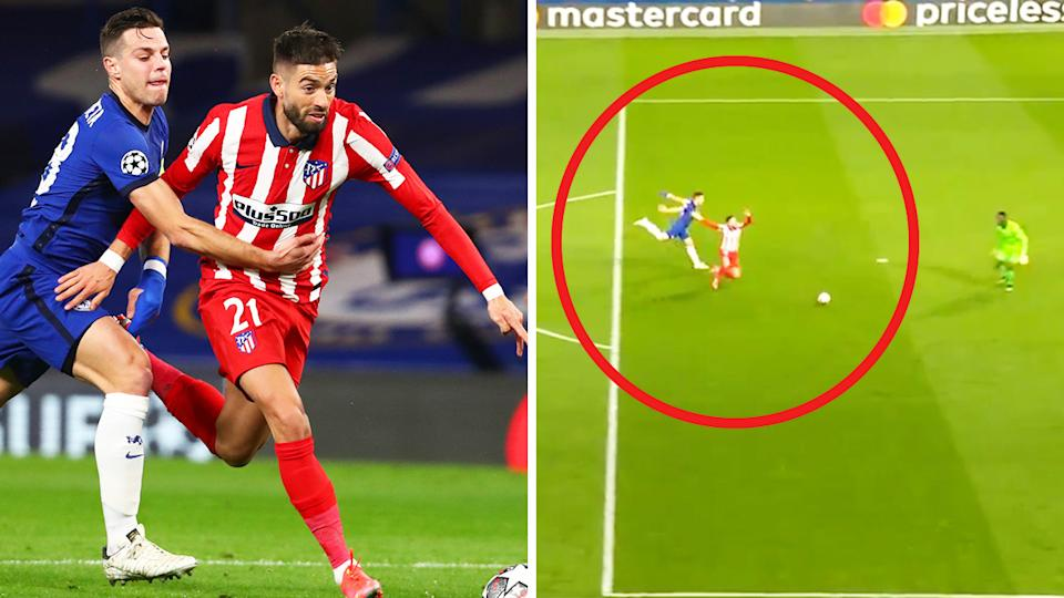 Yannick Carrasco (pictured right) going down in the box under a dubious challenge (pictured left) from César Azpilicueta.