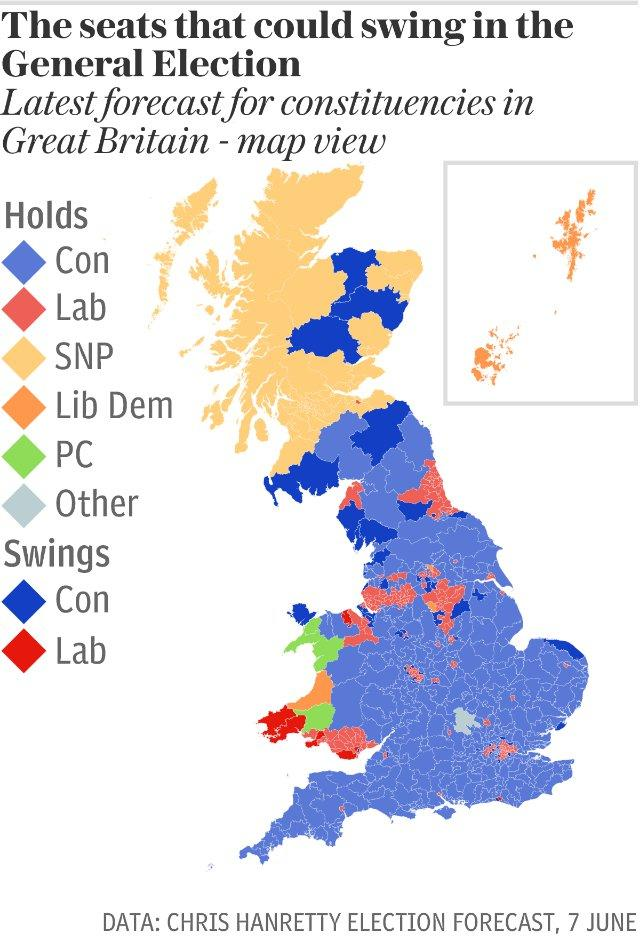 Map: The seats that could swing in the General Election