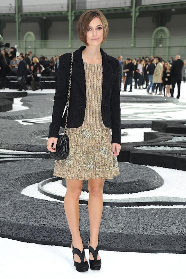 """A Chanel fashion event wouldn't be complete without an appearance by Keira Knightley, who looked conservative yet captivating at the 2011 Spring/Summer show in a knit dress, black blazer, Miu Miu heels, and sleek new 'do. Pascal Le Segretain/<a href=""""http://www.gettyimages.com/"""" target=""""new"""">GettyImages.com</a> - October 5, 2010"""