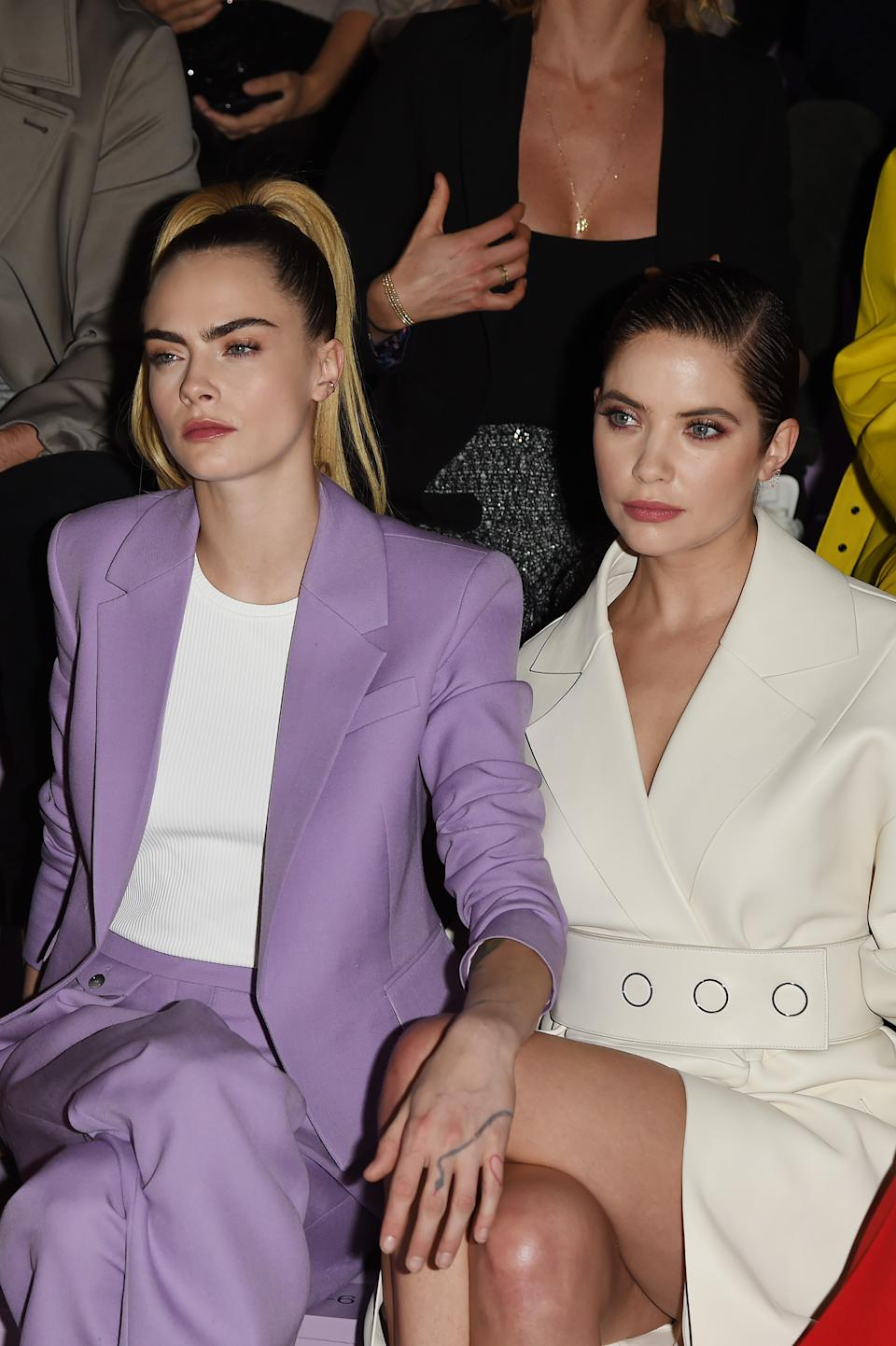 Cara Delevingne and Ashley Benson attend the Boss fashion show on February 23, 2020 in Milan, Italy. (Photo by Stefania D'Alessandro/Getty Images)