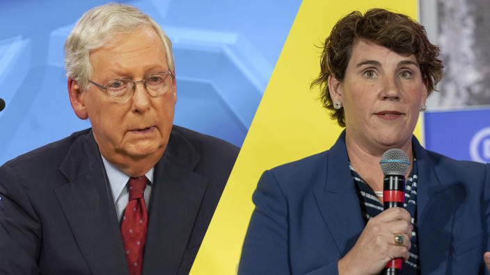 Senate Majority Leader Mitch McConnell (R-KY) /Kentucky DemocratAmy McGrath (Michael Clubb-Pool/Getty Images; Amanda Andrade-Rhoades/Bloomberg via Getty Images)
