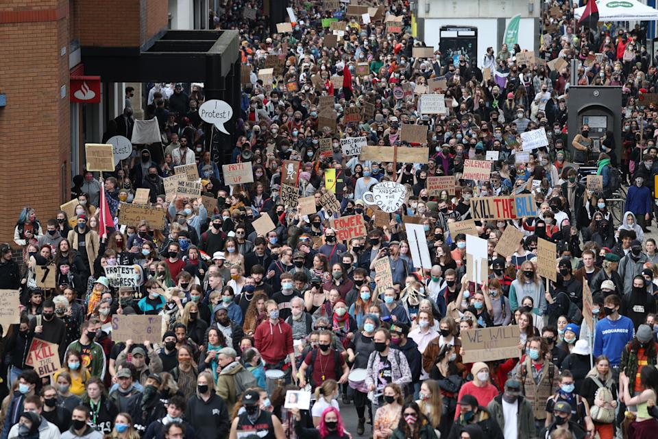 People take part in a 'Kill the Bill' protest in Bristol, demonstrating against the Government's controversial Police and Crime Bill. Picture date: Sunday March 21, 2021.