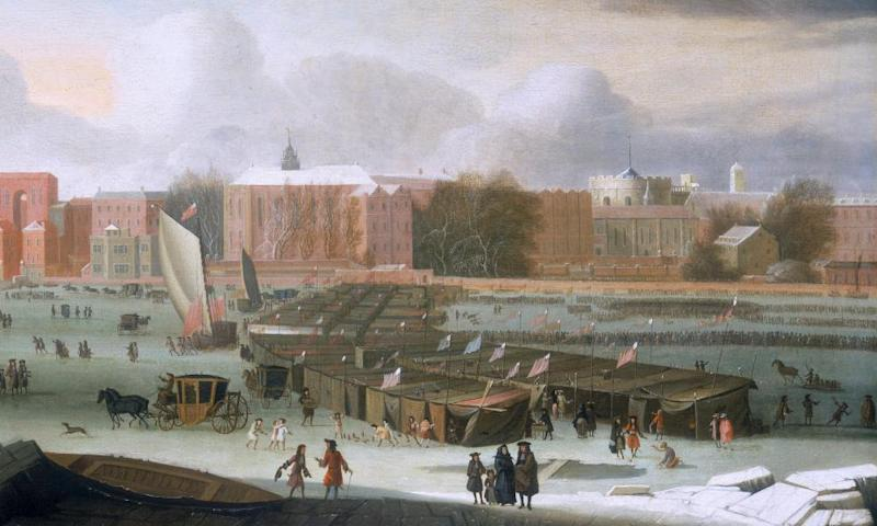 A Frost Fair on the Thames at Temple Stairs by Abraham Hondius c1684