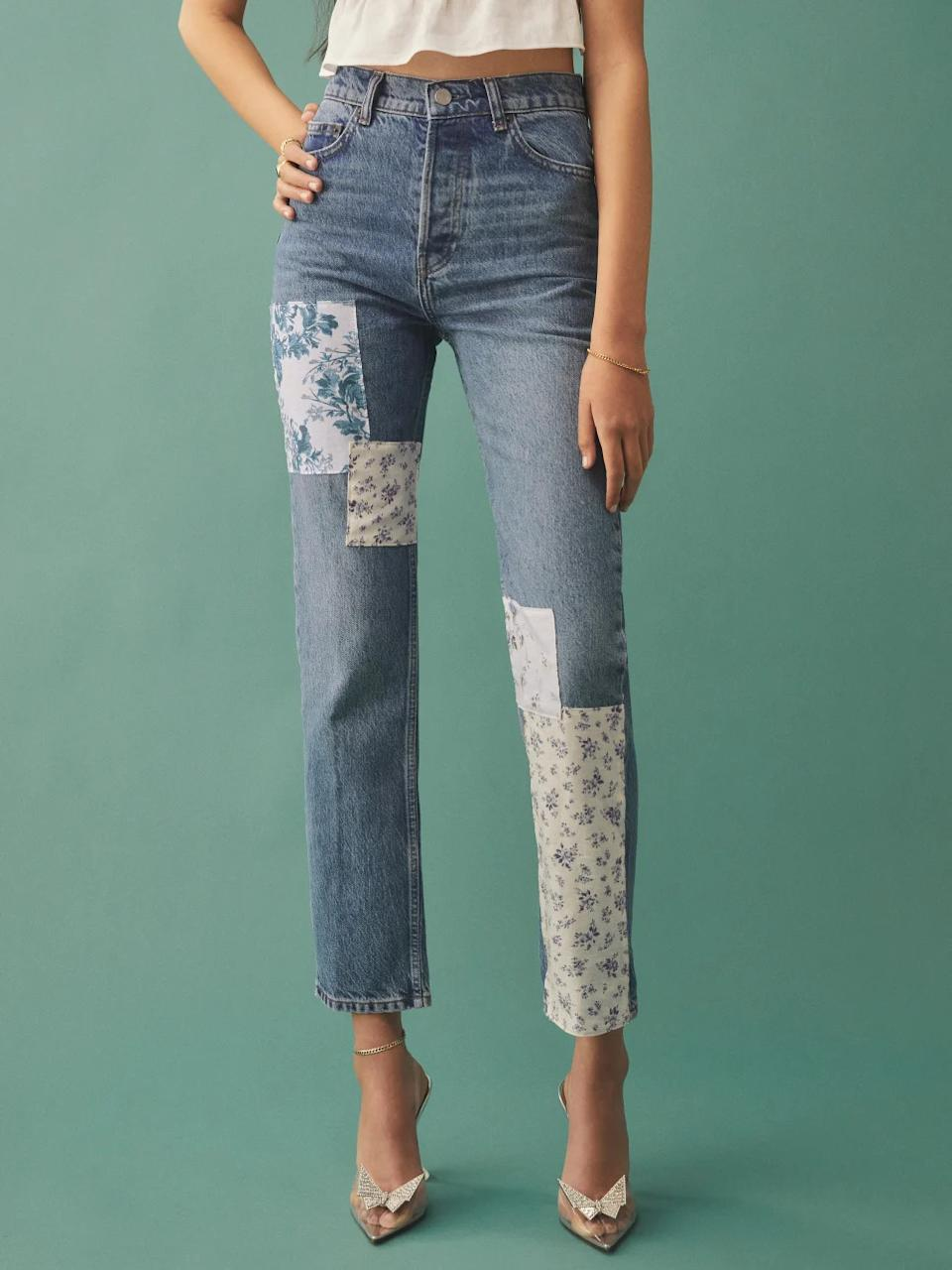 Cynthia Linen Patch High Rise Straight Jeans. Image via Reformation.