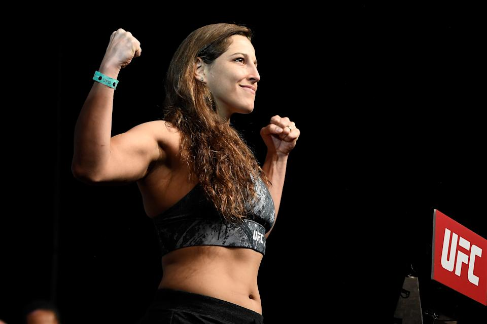 NORFOLK, VA - FEBRUARY 28:  Felicia Spencer of Canada poses on the scale during the UFC Fight Night ceremonial weigh-in at Chartway Arena on February 28, 2020 in Norfolk, Virginia. (Photo by Mike Roach/Zuffa LLC via Getty Images)