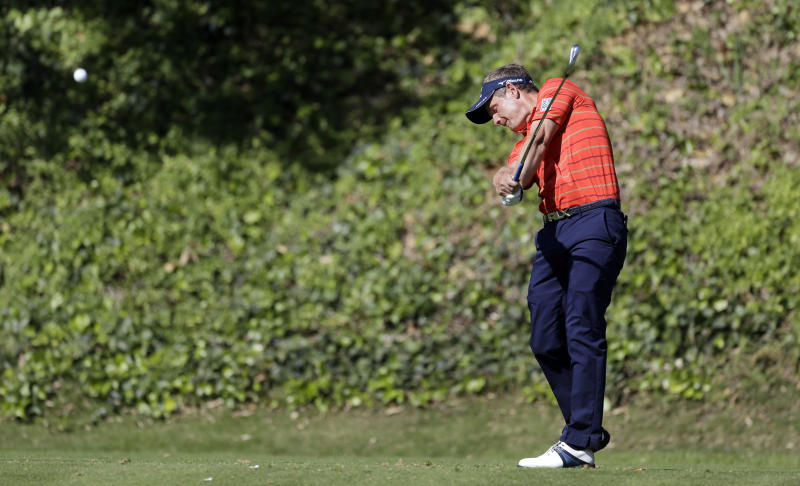 Luke Donald, of England, drives on the sixth tee in the second round of the Northern Trust Open golf tournament at Riviera Country Club in the Pacific Palisades area of Los Angeles Friday, Feb. 15, 2013. (AP Photo/Reed Saxon)