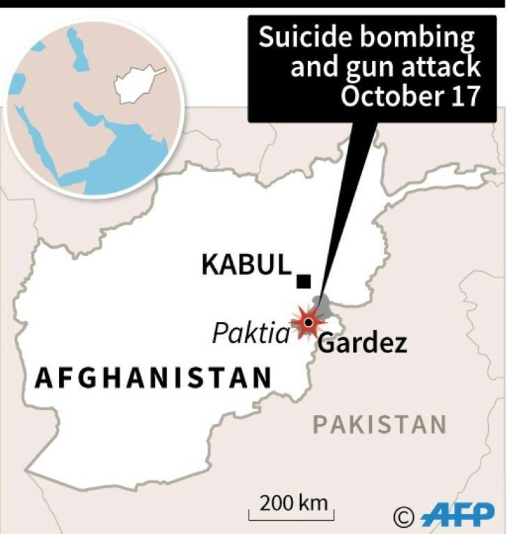 Map of Afghanistan showing Gardez, site of a suicide bombing and gun attack Tuesday