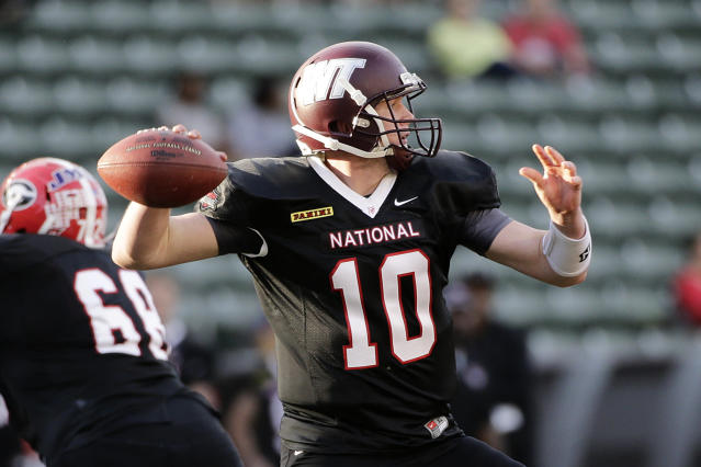 National team quarterback Dustin Vaughan, of West Texas A&M, throws a pass during the first half of the NFLPA Collegiate Bowl football game against the American team on Saturday, Jan. 18, 2014, in Carson, Calif. (AP Photo/Jae C. Hong)