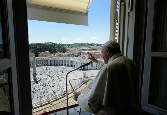 Pope Francis gives his first address to the faithful on Saint Peter's square in nearly three months (AFP Photo/Handout)