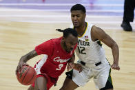 Houston guard DeJon Jarreau (3) drives past Baylor guard Jared Butler (12) during the first half of a men's Final Four NCAA college basketball tournament semifinal game, Saturday, April 3, 2021, at Lucas Oil Stadium in Indianapolis. (AP Photo/Darron Cummings)