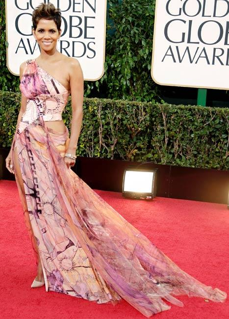 Halle Berry's Patterned, One-Shouldered Versace Gown: Love It or Hate It?