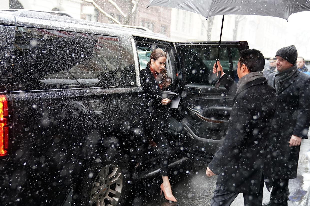 Jessica Mulroney arrives at a hotel for what local media are reporting as a baby shower for Meghan, Duchess of Sussex in the Manhattan borough of New York City, New York, U.S., February 20, 2019. REUTERS/Carlo Allegri