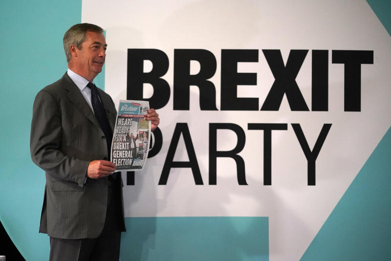 DONCASTER, ENGLAND - SEPTEMBER 04: Leader of the Brexit Party Nigel Farage holds a copy of The Brexiteer, the party newspaper, ahead of addressing party members and delegates at Doncaster Racecourse during the Brexit Party Conference tour on September 4, 2019 in Doncaster, England. The rally is part of a nationwide conference tour in which Nigel Farage will address audiences around the country. In readiness for a possible general election the party has already selected prospective parliamentary candidates in most constituencies in the UK. (Photo by Christopher Furlong/Getty Images)