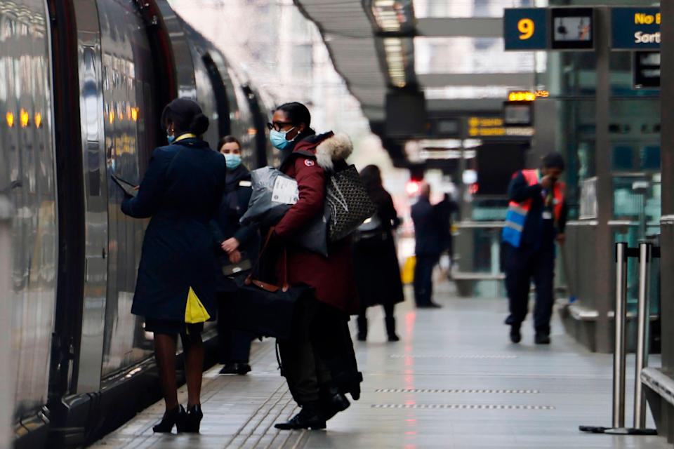 <p>All aboard: international trains all pass through amber countries</p> (AFP via Getty Images)