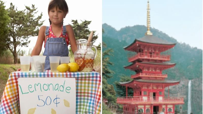 A girl selling lemonade on the left, and a Japanese temple built by Kongo-Gumi.
