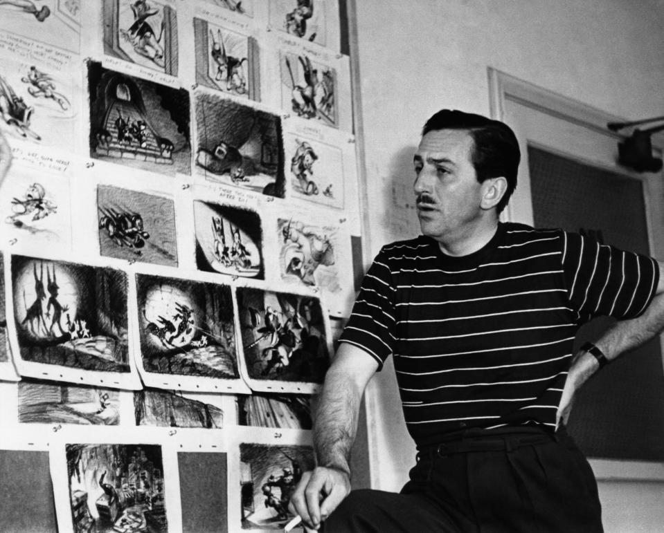Walt Disney examines storyboards for 'Pinocchio,' a film that featured a new of new animation innovations (Photo: Everett Collection)