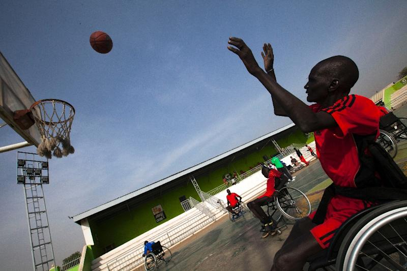 A South Sudanese basketball wheelchair player train at the Juba Basketball Court on January 11, 2017