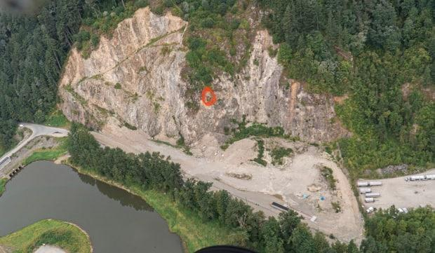 The approximate location of a pair of peregrine falcons nesting in an active quarry on Quadling Road in Abbotsford. Advocates are worried work on the site will prevent the birds from breeding.