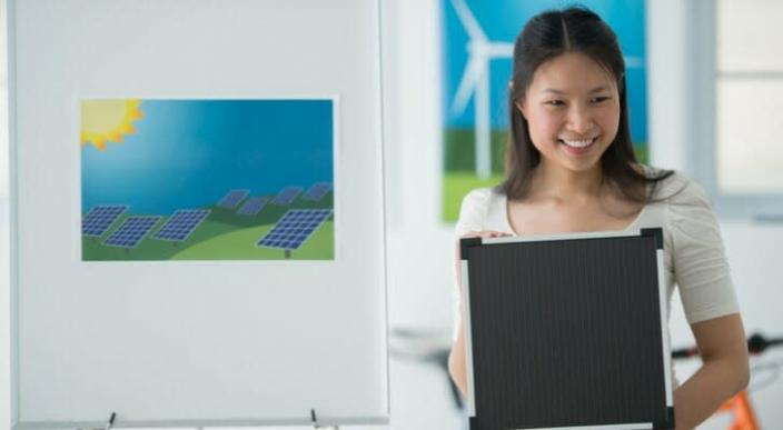 Businesswoman presenting a sustainable project proposal