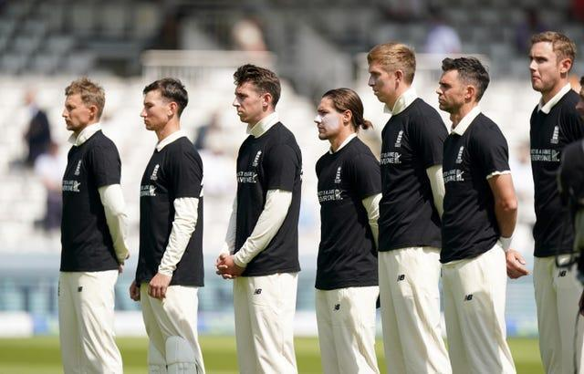 England players again donned anti-discrimination T-shirts ahead of the match