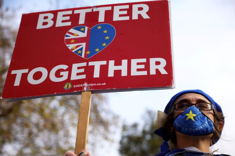 FILE PHOTO: An anti-Brexit protester holds a sign as she demonstrates near the conference centre where Brexit trade negotiations are taking place, in Westminster, London
