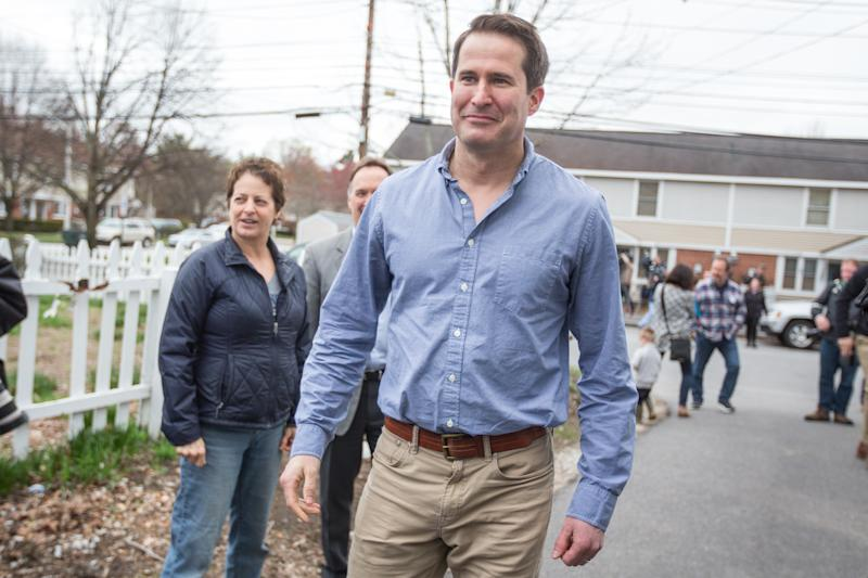 Seth Moulton arrives for a community project and campaign stop in Manchester, New Hampshire. | Scott Eisen—Getty Images