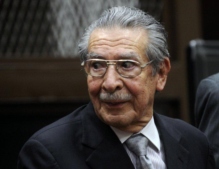 Former dictator Efrain Rios Montt attends a court hearing in Guatemala City on January 28, 2013