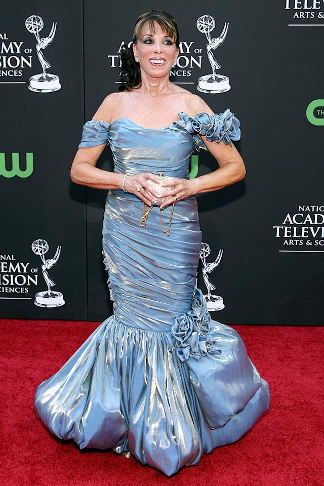 """Kate Linder (""""The Young and the Restless"""") missed the mark in this blue iridescent mess of dress. Alberto E. Rodriguez/<a href=""""http://www.wireimage.com"""" target=""""new"""">WireImage.com</a> - August 30, 2009"""