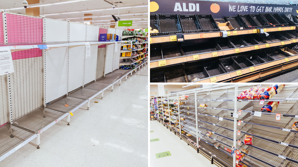 Images of empty Coles Woolworths, Aldi supermarket shelves during pandemic