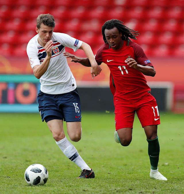 Soccer Football - UEFA European Under-17 Championship - Group B - Portugal v Norway - The Banks's Stadium, Walsall, Britain - May 4, 2018 Portugal's Jair Tavares in action with Norway's Sander Johan Christiansen Action Images via Reuters/Peter Cziborra