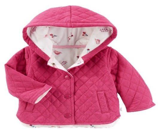 The recall affects the OshKosh Baby B'gosh quilted jackets in pink and gray. (CPSC)