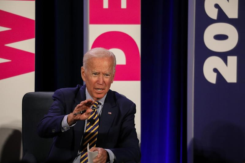 Former vice president Joe Biden is making his third White House bid, and is the candidate to beat in a crowded Democratic field (AFP Photo/Logan Cyrus)