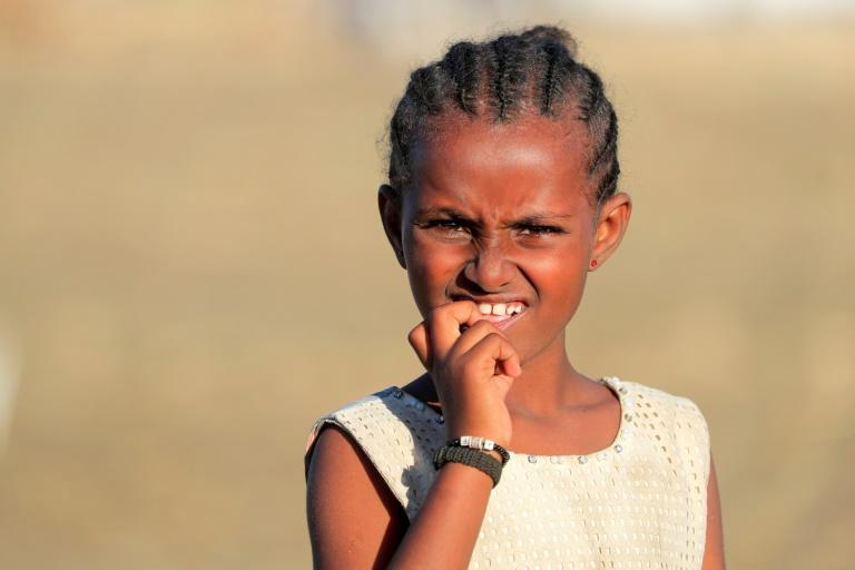 A young refugee from the Tigray conflict, pictured at the Tenedba camp in Mafaza, eastern Sudan