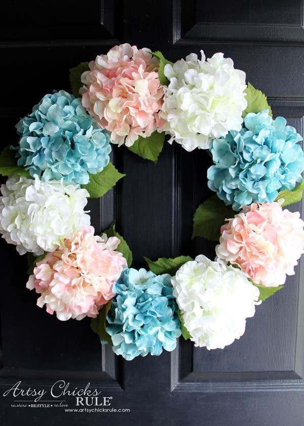 "<p>Choose your favorite flowers, and attach 'em to a wire wreath frame—it's as simple as that! </p><p><strong>Get the tutorial at <a href=""http://www.artsychicksrule.com/2016/03/diy-hydrangea-wreath.html"" rel=""nofollow noopener"" target=""_blank"" data-ylk=""slk:Artsy Chicks Rule"" class=""link rapid-noclick-resp"">Artsy Chicks Rule</a>. </strong></p><p><strong><a class=""link rapid-noclick-resp"" href=""https://www.amazon.com/FloraCraft-SimpleStyle-Wreath-Green-Gauge/dp/B00BTDBLE6/?tag=syn-yahoo-20&ascsubtag=%5Bartid%7C10050.g.4395%5Bsrc%7Cyahoo-us"" rel=""nofollow noopener"" target=""_blank"" data-ylk=""slk:SHOP WIRE WREATHS"">SHOP WIRE WREATHS</a><br></strong></p>"