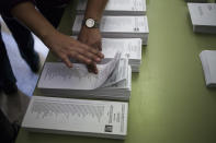<p>Ballot papers in Barcelona, Spain, Dec. 21, 2017.<br>(Photograph by Jose Colon / MeMo for Yahoo News) </p>