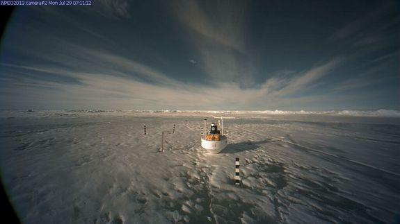 Image from one of the North Pole Environmental Observatory webcams, taken Monday, July 29.