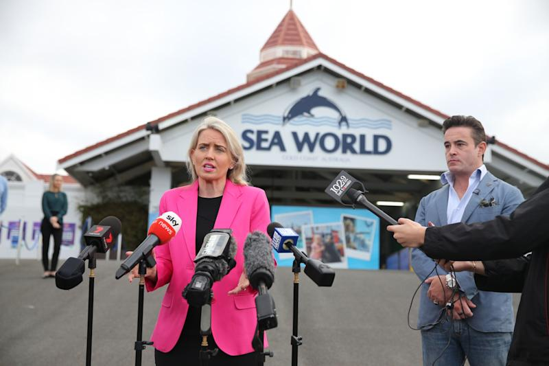 Village Roadshow Theme Parks CEO, Clark Kirby and Queensland Tourism Minister, Kate Jones speak to media outside Sea World on June 26, 2020 in Gold Coast, Australia. (Photo: Chris Hyde via Getty Images)