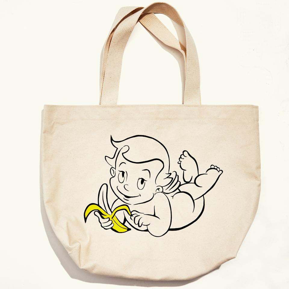 "<p>""I've always loved cherubs and wanted to do a slightly naughty one for the shop. <strong>Alelli Tanghal</strong> created this illustration for us. It either gets a smile or a confused 'Is that a cherub eating a banana?!'""</p> <p><em>Buy it: <a href=""https://www.shopyowie.com/products/putti-banana-beach-tote"" rel=""nofollow"">Putti Banana Beach Tote, $35</a>.</em></p>"