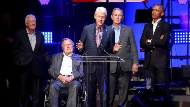 PHOTO: Former Presidents Jimmy Carter, George H.W. Bush, Bill Clinton, George W. Bush, and Barack Obama attend a concert at Texas A&M University benefiting hurricane relief efforts in College Station, Texas, Oct. 21, 2017. (Richard Carson/Reuters)
