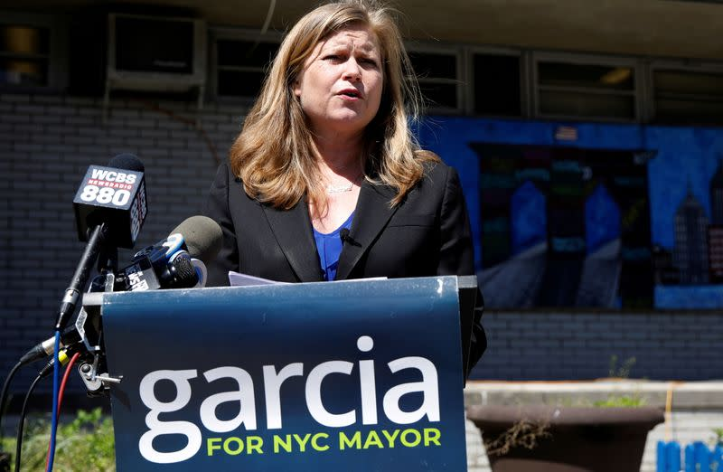FILE PHOTO: Kathryn Garcia, Democratic candidate for New York City Mayor campaigns in Brooklyn New York