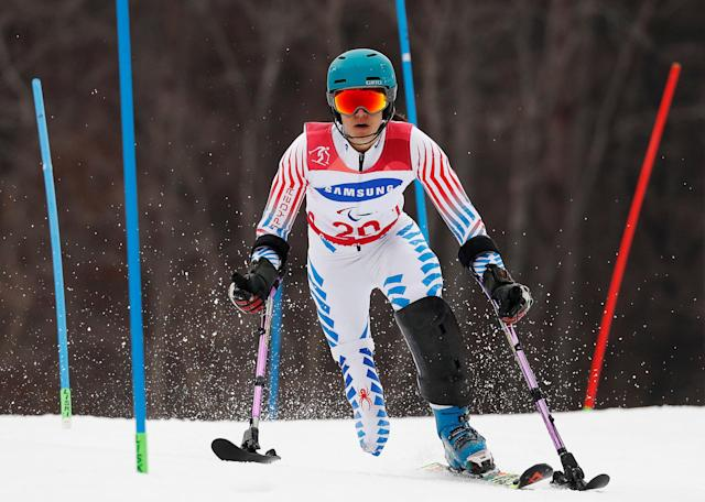 Alpine Skiing - Pyeongchang 2018 Winter Paralympics - Women's Slalom - Standing - Run 1 - Jeongseon Alpine Centre - Jeongseon, South Korea - March 18, 2018 - Melanie Schwartz of the U.S. REUTERS/Paul Hanna