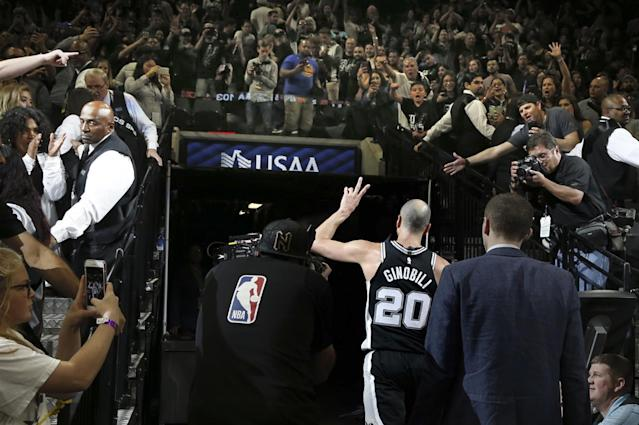 Manu Ginobili waves goodbye.