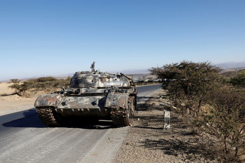FILE PHOTO: A damaged Eritrean military tank is seen near the town of Wikro