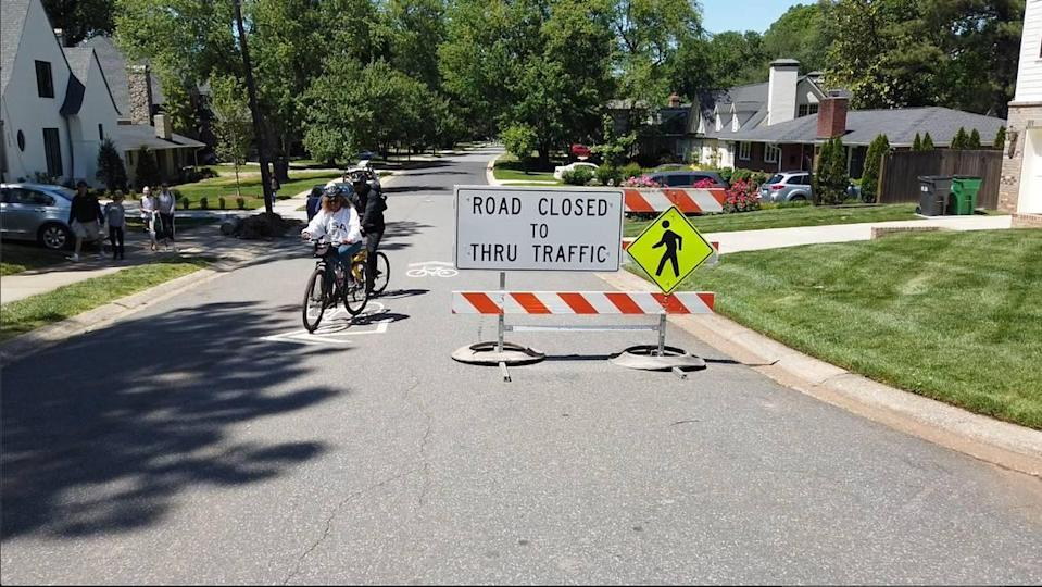 Streets in Myers Park are closed to thru traffic as part of Charlotte's Shared Streets program.
