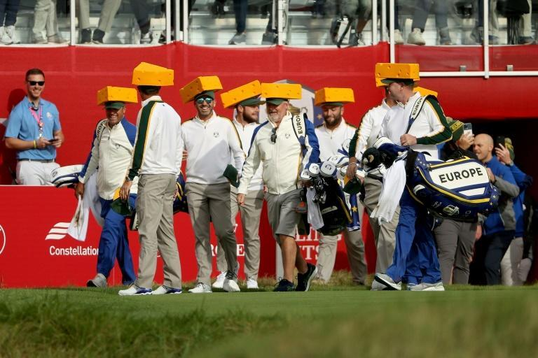 """Big cheese: European Ryder Cup players sport Green Bay Packers colors and """"cheesehead"""" hats for a practice round at Whistling Straits in Packers country in Wisconsin (AFP/Patrick Smith)"""