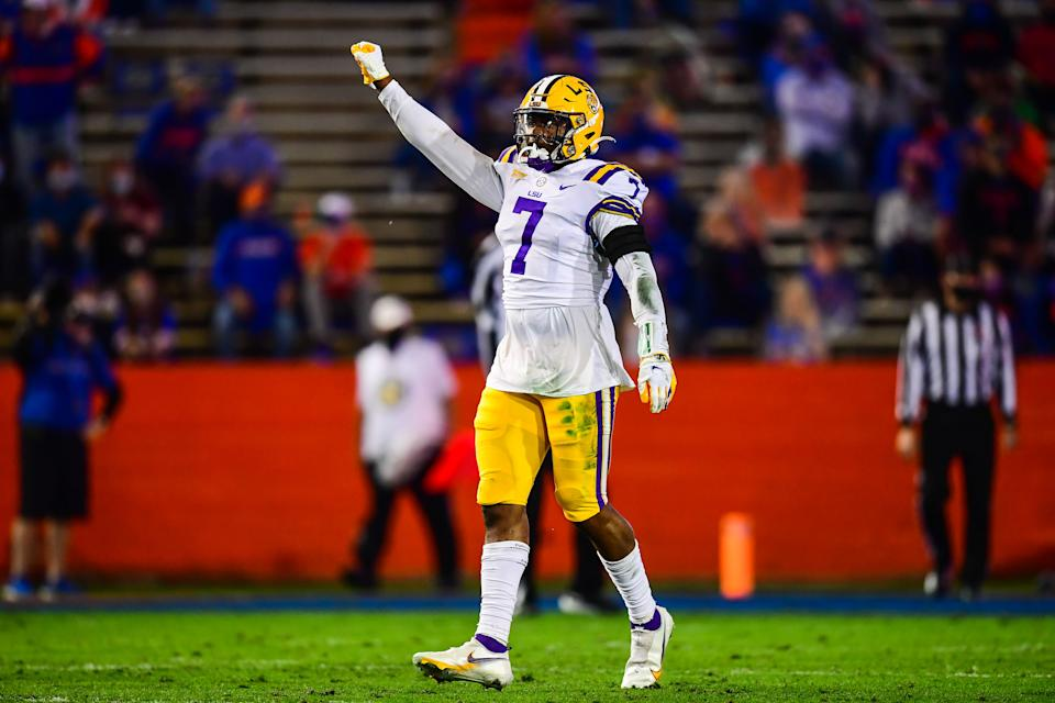 LSU's Jacoby Stevens was strong in the upset over Florida. (Photo by Gus Stark/Collegiate Images/Getty Images)